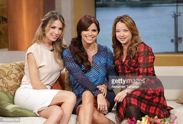 Alessandra Villegas Rashel Diaz and Adamari Lopez is seen on the set of Telemundo's 'Un Nuevo Dia' to promote the movie 'Pompeii' at Telemundo Studio...