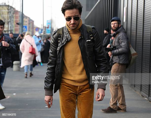 Alessandro Agazzi on the street after the Gucci show during the Milan Fashion Week