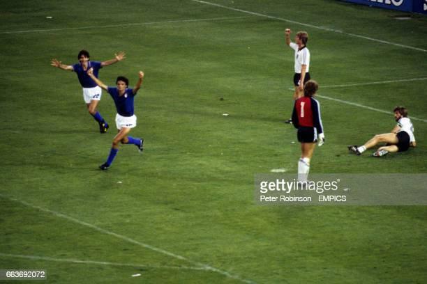 Alessandro Altobelli celebrates scoring Italy's third goal of the game