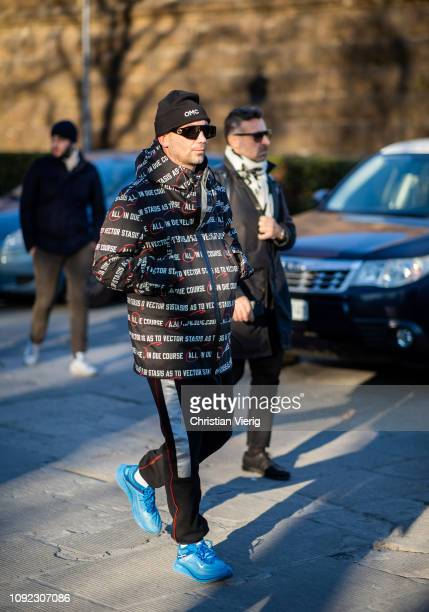 Alessandro Altomare is seen during the 95th Pitti Uomo at Fortezza Da Basso on January 10 2019 in Florence Italy