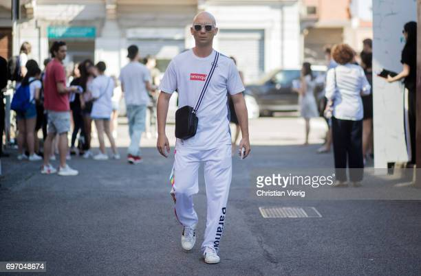 Alessandro Altomare is seen outside Diesel during Milan Men's Fashion Week Spring/Summer 2018 on June 17 2017 in Milan Italy