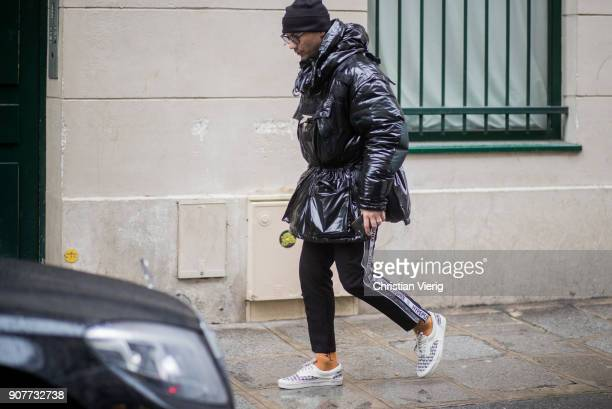 Alessandro Altomare wearing black jacket is seen outside Sacai on January 20 2018 in Paris France