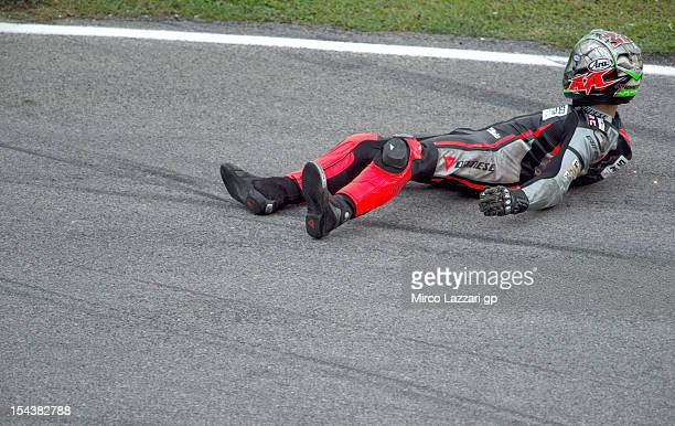 Alessandro Andreozzi of Italy and Speed Master crashed out during the free practice of the MotoGP Of Malaysia at Sepang Circuit on October 19 2012 in...