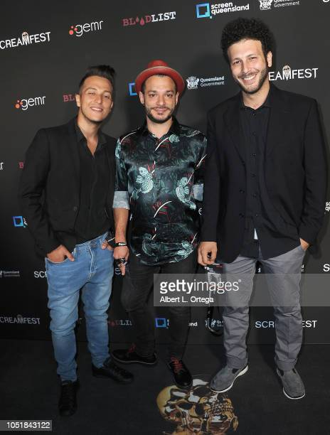 Alessandro Antonaci Stefano Mandala and Daniel Cascar arrive for the Screamfest LA Opening Night Screening Of 'The Amityville Murders' at TCL Chinese...