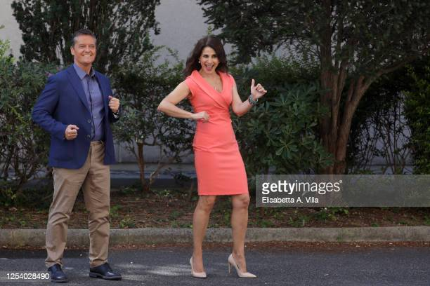 Alessandro Baracchini and Barbara Capponi attend 'Uno Mattina Estate' tv show photocall at RAI Saxa Rubra on July 03 2020 in Rome Italy
