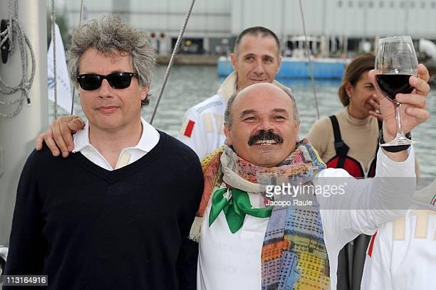 Alessandro Baricco and Oscar Farinetti attend '7 Mosse Per L'Italia' at Porto Antico on April 25 2011 in Genoa Italy The journey from Genoa to New...