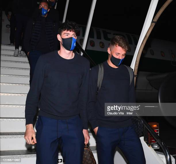 Alessandro Bastoni and Andrea Pinamonti of FC Internazionale arrive in Rome on October 3, 2020 in Rome, Italy.