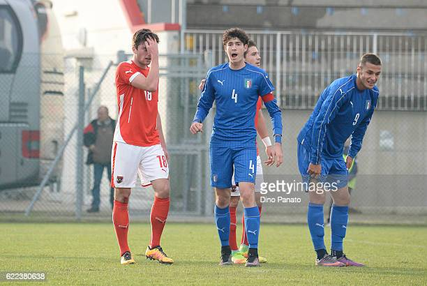 Alessandro Bastoni and Gianluca Scamacca of Italy U18 during the international friendly match between Italy U18 and Austria U18 at Stadio Comunale on...