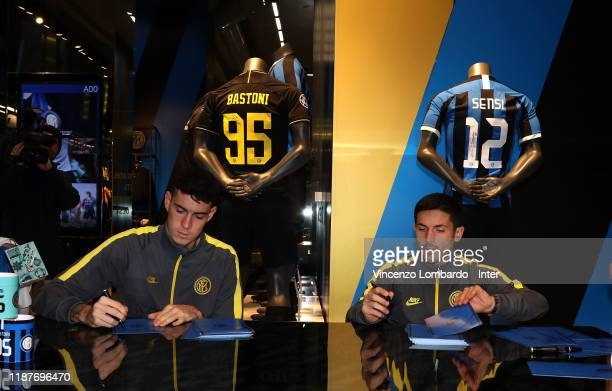 Alessandro Bastoni and Stefano Sensi attend the FC Internazionale autographs session on November 14 2019 in Milan Italy
