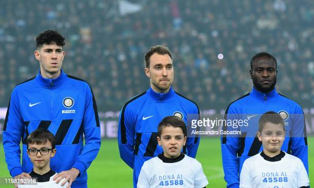 Alessandro Bastoni Christian Eriksen and Victor Moses of FC Internazionale during the Serie A match between Udinese Calcio and FC Internazionale at...