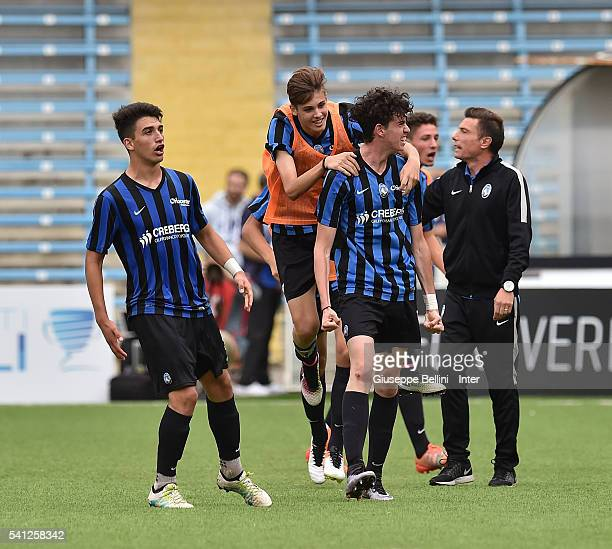 Alessandro Bastoni of Atalanta Bergamasca Calcio celebrates after scoring goal 11 during Serie A U17 Finals between FC Internazionale Milano and...