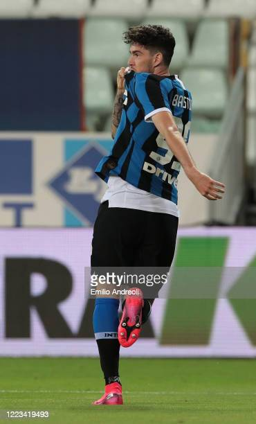 Alessandro Bastoni of FC Internazionale celebrates his goal during the Serie A match between Parma Calcio and FC Internazionale at Stadio Ennio...
