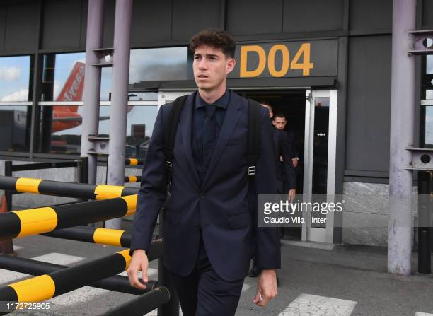 Alessandro Bastoni of FC Internazionale departs for Barcelona on October 1 2019 in Milan Italy