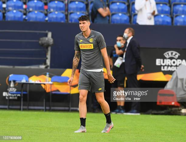 Alessandro Bastoni of FC Internazionale in action during a training session at Arena AufSchalke on August 4, 2020 in Gelsenkirchen, Germany. FC...