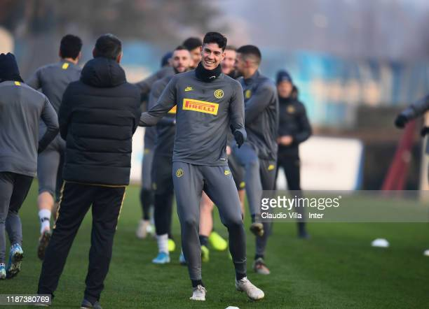 Alessandro Bastoni of FC Internazionale in action during FC Internazionale training session at Appiano Gentile on December 9, 2019 in Como, Italy.
