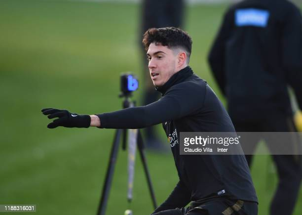 Alessandro Bastoni of FC Internazionale in action during FC Internazionale training session at Appiano Gentile on December 13 2019 in Como Italy