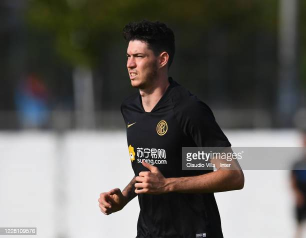 Alessandro Bastoni of FC Internazionale in action during FC Internazionale training session on August 19, 2020 in Dusseldorf, Germany.