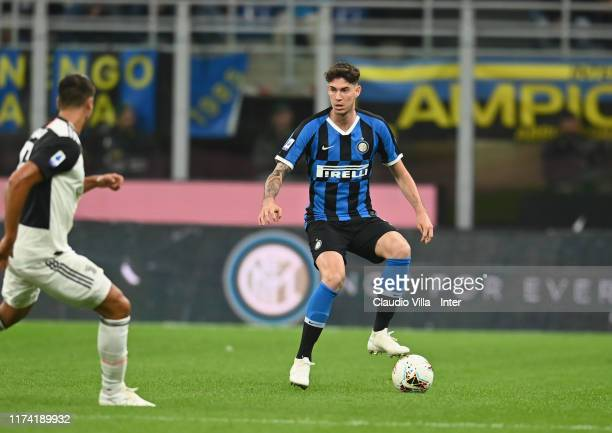 Alessandro Bastoni of FC Internazionale in action during the Serie A match between FC Internazionale and Juventus at Stadio Giuseppe Meazza on...