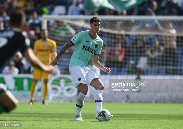 Alessandro Bastoni of FC Internazionale in action during the Serie A match between US Sassuolo and FC Internazionale at Mapei Stadium Cittadel...