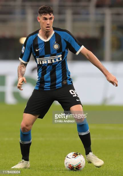 Alessandro Bastoni of FC Internazionale in action during the Serie A match between FC Internazionale and Parma Calcio at Stadio Giuseppe Meazza on...