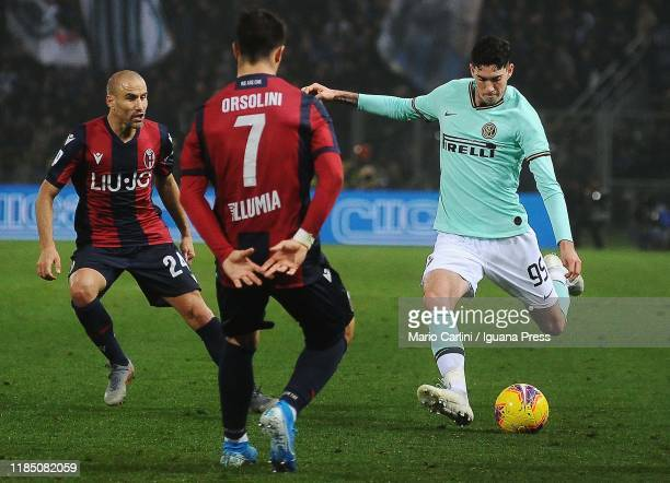 Alessandro Bastoni of FC Internazionale in action during the Serie A match between Bologna FC and FC Internazionale at Stadio Renato Dall'Ara on...