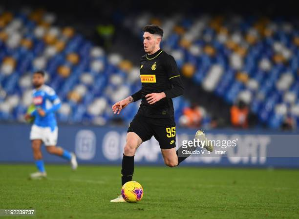 Alessandro Bastoni of FC Internazionale in action during the Serie A match between SSC Napoli and FC Internazionale at Stadio San Paolo on January 6...