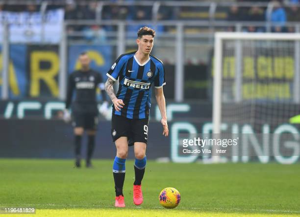Alessandro Bastoni of FC Internazionale in action during the Serie A match between FC Internazionale and Cagliari Calcio at Stadio Giuseppe Meazza on...