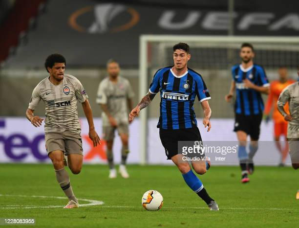 Alessandro Bastoni of FC Internazionale in action during the UEFA Europa League Semi Final between Internazionale and Shakhtar Donetsk at Merkur...