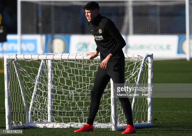 Alessandro Bastoni of FC Internazionale looks on during the FC Internazionale training session at the club's training ground Suning Training Center...