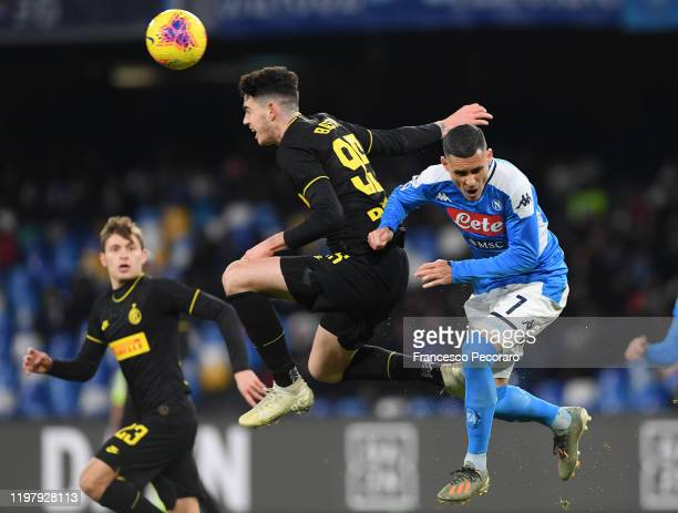 Alessandro Bastoni of FC Internazionale vies with Jose Callejon of SSC Napoli during the Serie A match between SSC Napoli and FC Internazionale at...