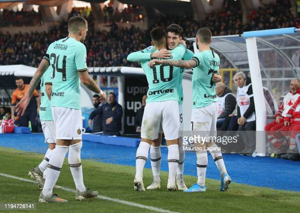 Alessandro Bastoni of Inter celebartes after scoring his team's opening goal during the Serie A match between US Lecce and FC Internazionale at...