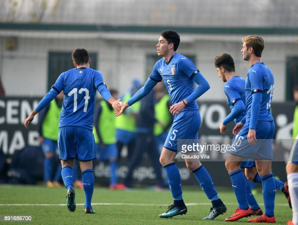 Alessandro Bastoni of Italy celebrates after scoring the fifth goal during the international friendly match between Italy U19 and Finland U19 on...
