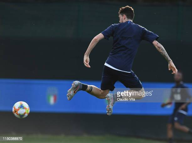 Alessandro Bastoni of Italy in action during a training session at Casteldebole Training Center on June 17 2019 in Bologna Italy
