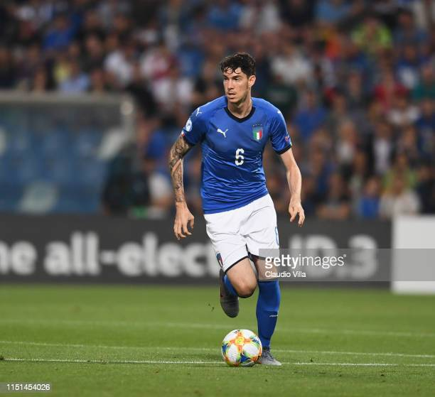 Alessandro Bastoni of Italy in action during the 2019 UEFA U21 Group A match between Belgium and Italy at Stadio Citta del Tricolore on June 22 2019...