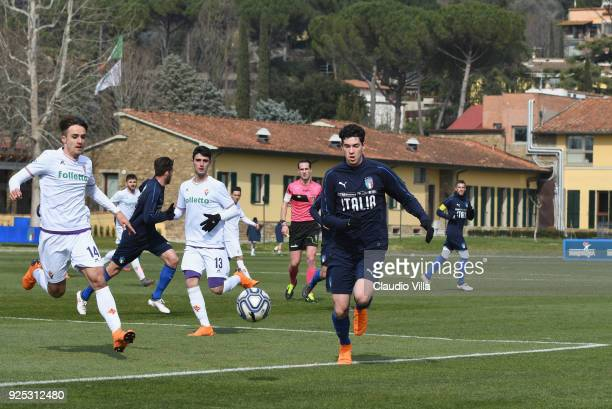 Alessandro Bastoni of Italy in action during the friendly match between Italy and Fiorentina U19 at Coverciano on February 28 2018 in Florence Italy