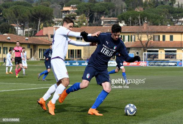 Alessandro Bastoni of Italy in action during the frienldy match between Italy and Fiorentina U19 at Coverciano on February 28 2018 in Florence Italy
