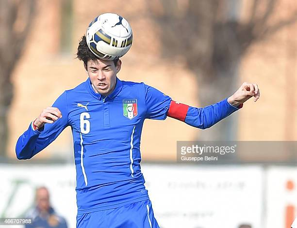 Alessandro Bastoni of Italy in action during the international friendly match between U16 Italy and U16 Germany on March 18 2015 in Recanati Italy