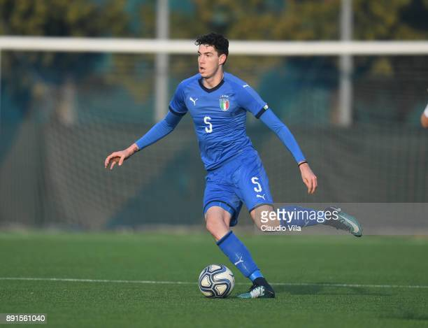 Alessandro Bastoni of Italy in action during the international friendly match between Italy U19 and Finland U19 on December 13 2017 in Brescia Italy