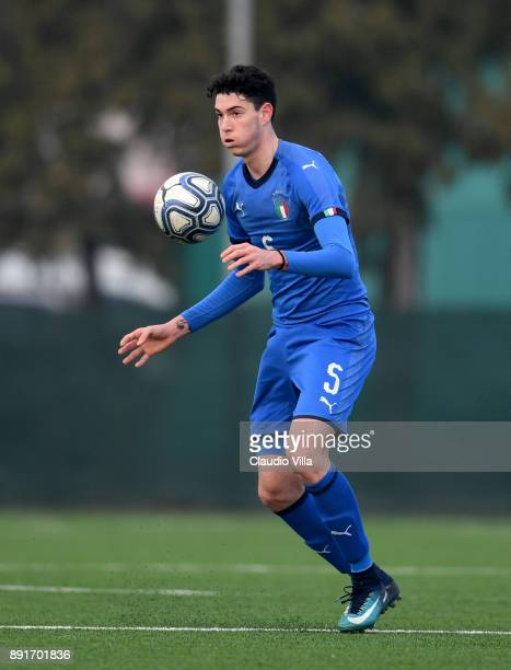 Alessandro Bastoni of Italy in action during the international friendly match between Italy U19 and Finland U19 on December 13, 2017 in Brescia,...