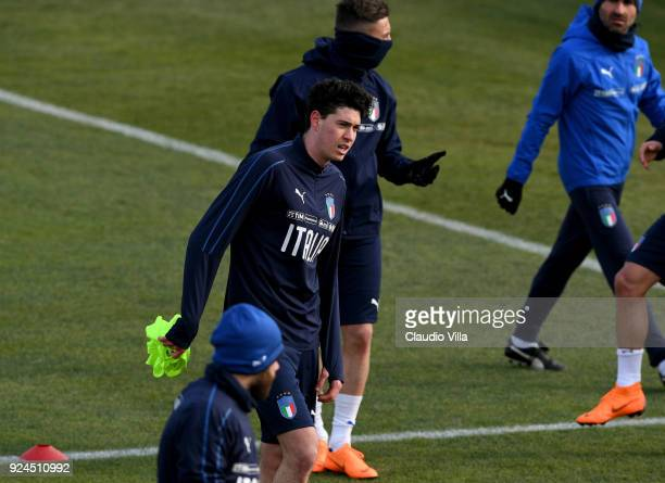Alessandro Bastoni of Italy looks on during a training session at Italy club's training ground at Coverciano at Coverciano on February 26 2018 in...