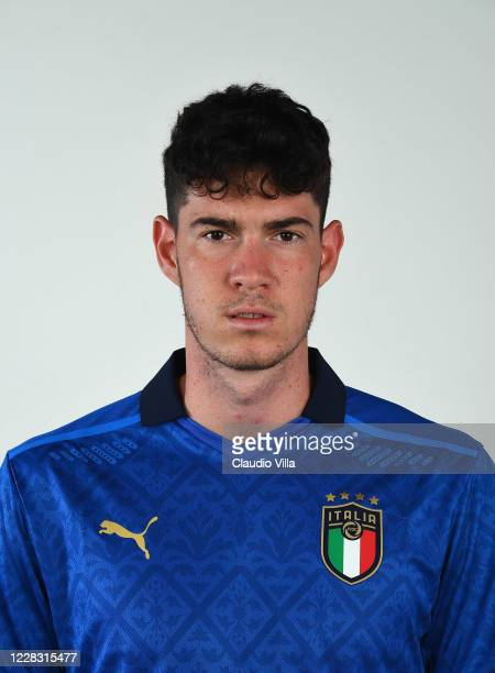 Alessandro Bastoni of Italy poses during the official portrait session at Centro Tecnico Federale di Coverciano on September 2, 2020 in Florence,...