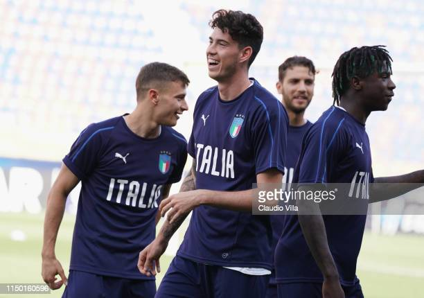 Alessandro Bastoni of Italy reacts during a Italy training session at Stadio Renato Dall'Ara on June 15 2019 in Bologna Italy