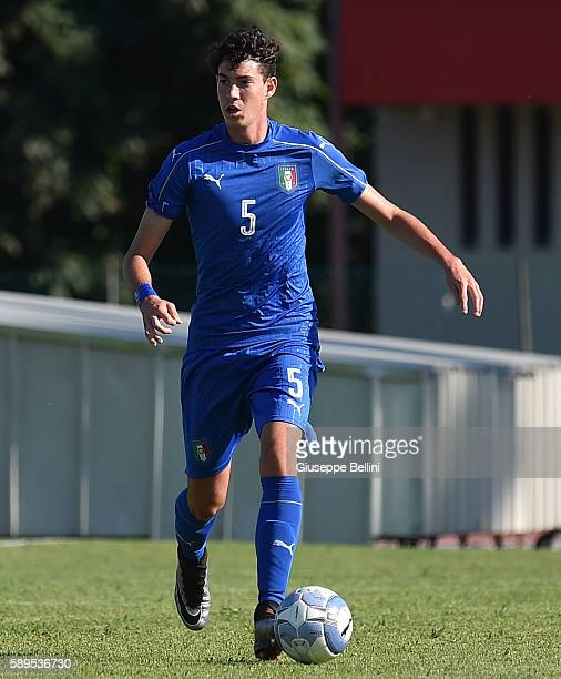 Alessandro Bastoni of Italy U18 in action during the international friendly match between Italy U18 and Slovenia U18 on August 11 2016 in Codroipo...