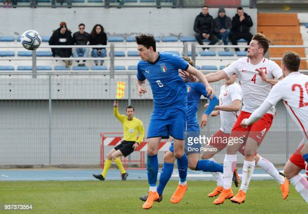 Alessandro Bastoni of Italy U19 during the Elite Round U19 match between Italy and Poland on March 24 2018 in Lignano Sabbiadoro Italy