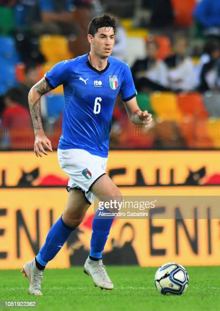 Alessandro Bastoni of Italy U21 in action during the International Friendly match between Italy U21 and Belgium U21 at Friuli Stadium on October 11...
