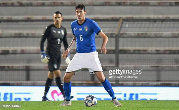 Alessandro Bastoni of Italy U21 in action during the International Friendly match between Italy U21 and Tunisia U21 at Stadio Romeo Menti on October...