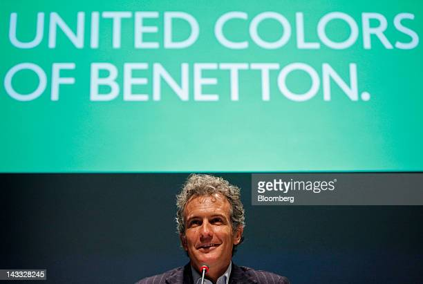 Alessandro Benetton chairman of Benetton Group SpA speaks during a news conference following the annual shareholders meeting at the company's...