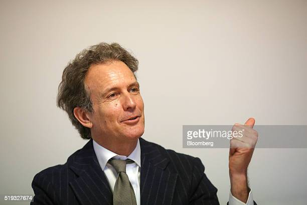 Alessandro Benetton chief executive officer of 21 Investimenti SpA gestures as he speaks during an interview at his offices in Treviso Italy on...