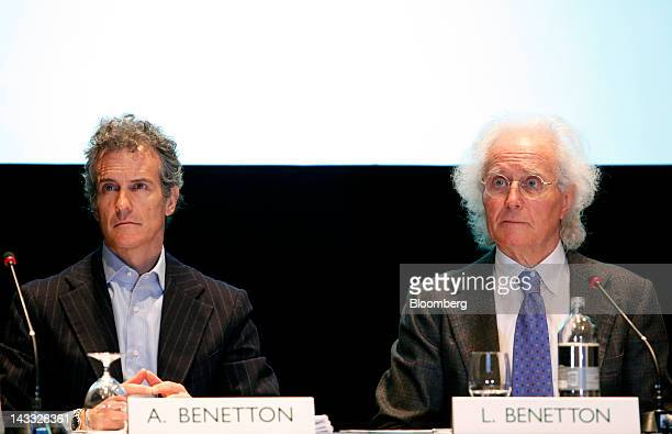 Alessandro Benetton left chairman of Benetton Group SpA and Luciano Benetton former chairman and founder of Benetton Group SpA attend the annual...