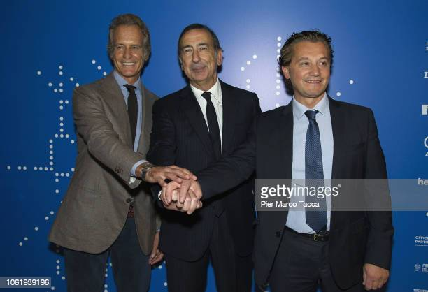 Alessandro Benetton President of the Cortina Foundation 2021 Giuseppe Sala Mayor of Milan and Gianpietro Ghedina Mayor of Cortina attend the FIS...